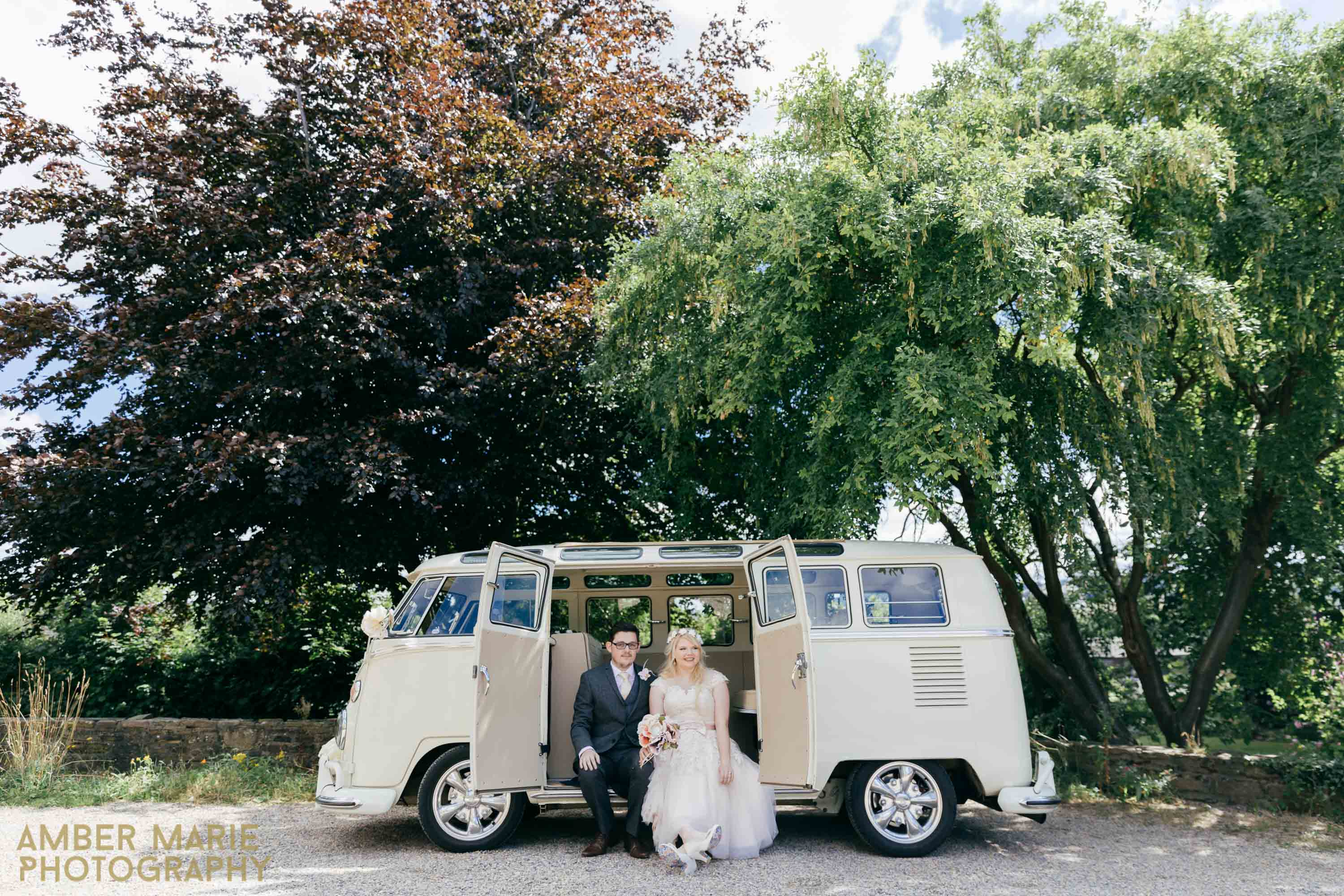 Creative Quirky Yorkshire wedding photographers northorpe hall VW CAMPER