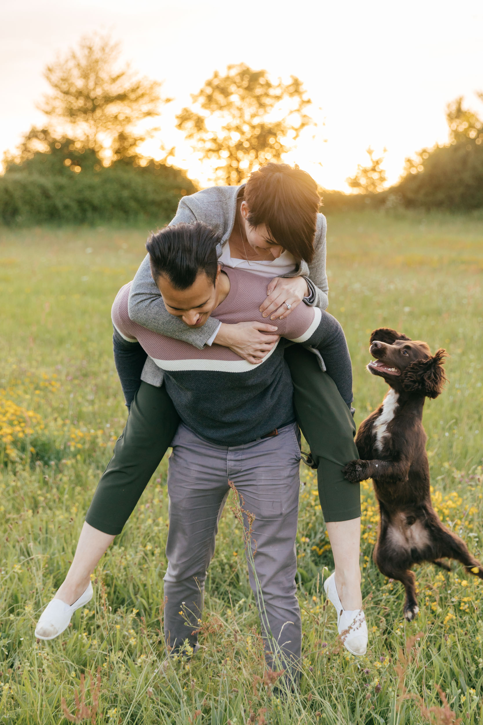 sunset engagement photography cotswolds