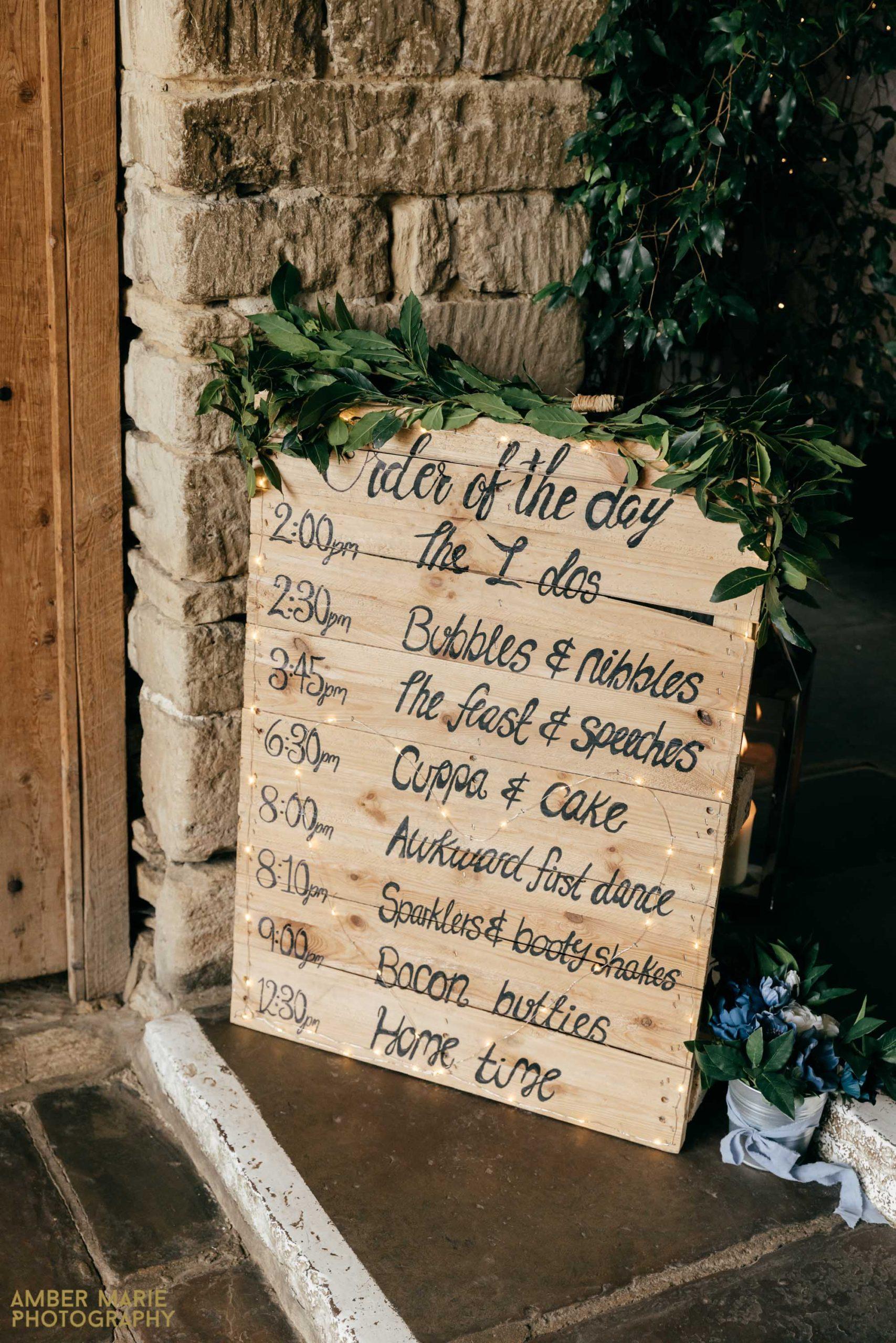 rustic wedding order of service
