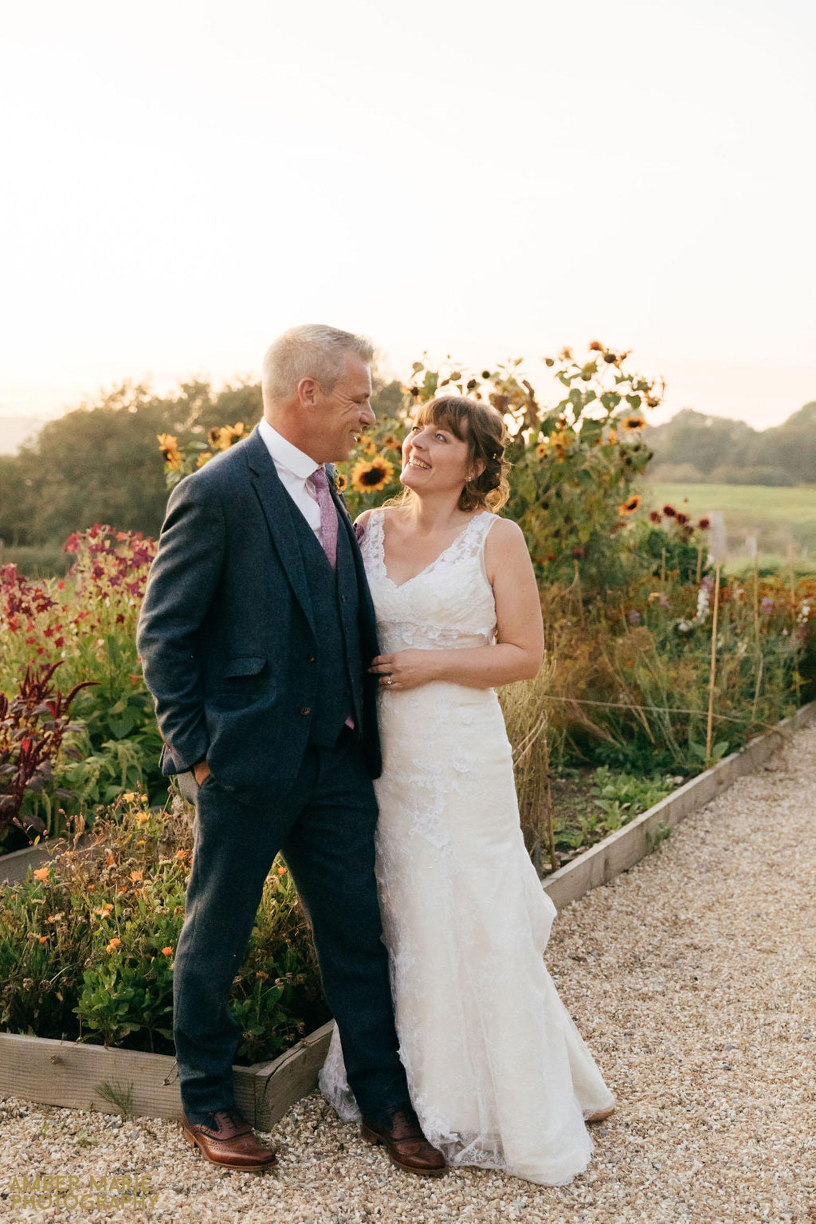 sunset wedding photos at river cottage devon